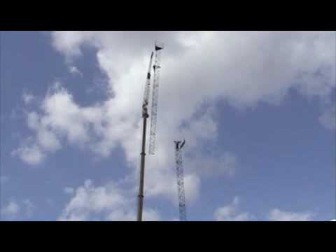 SM7YES 210 ft (64m) radio tower construction