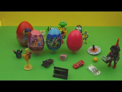 20 Surprise Eggs Kinder Surprise Mickey Mouse Cars 2 My Little Pony Minnie Mouse Spiderman playmobil