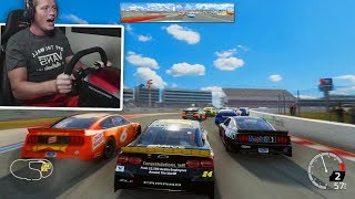 WAIT.. YOU CAN TURN RIGHT?! (NASCAR Heat 4 Gameplay with Wheel)
