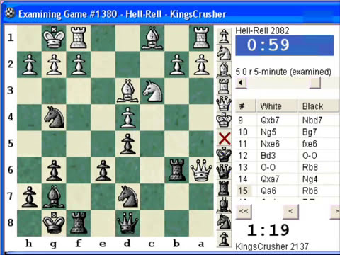 Chess World.net: Blitz #36 vs. Hell-Rell (2082) - French Defence Exchange Variation - 19th May 2009