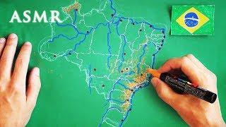 ASMR Drawing Map of Brazil Part 1 | Soft Spoken