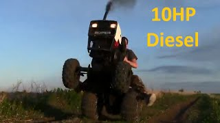 10HP Diesel Roper / Sears Almost Flips Pulling Wheelie