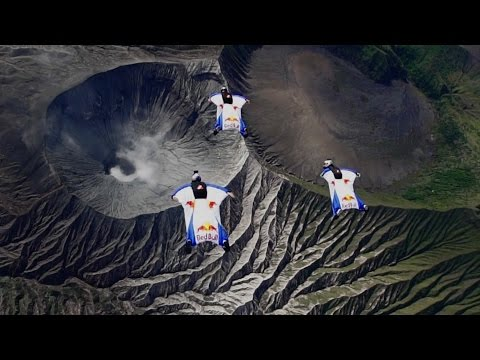 Wingsuit Flight Over an Active Volcano