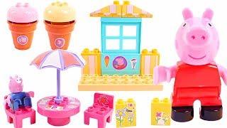 Mejores Videos Para Niños - Peppa Pig Ice Cream Shop Blocks Set Fun Videos For Kids