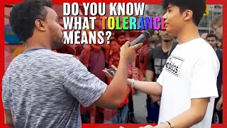 Video: My Bank 'forces' LGBT Flags on me. Is that Tolerance of my Christianity? - David Lynn vs Crowd