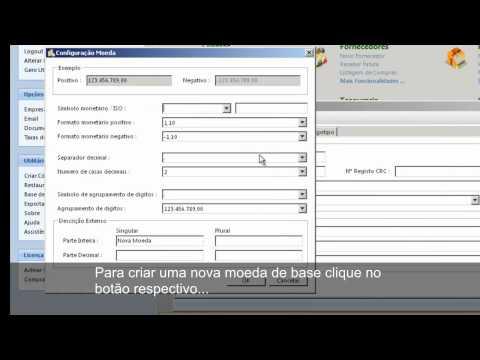Configurar dados da empresa e moeda base
