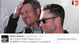 Blake Shelton Tweets Adam Levine's Personal Cell Number  to 5 Million Fans