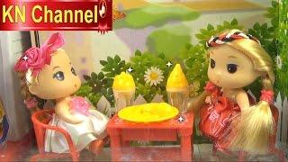 Đồ chơi trẻ em Búp bê baby Chibi Tập Ăn gà rán Stop motion Kids toys