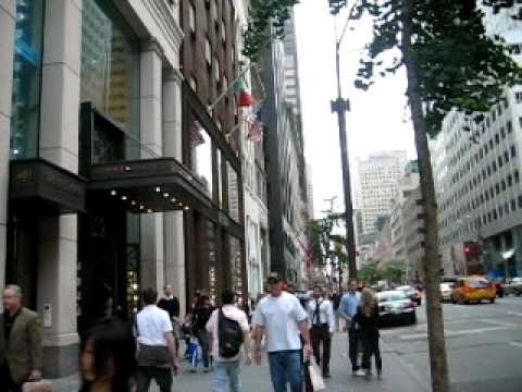 Walking Down 5th Fifth Avenue During Rush Hour in Midtown Manhattan New York NY