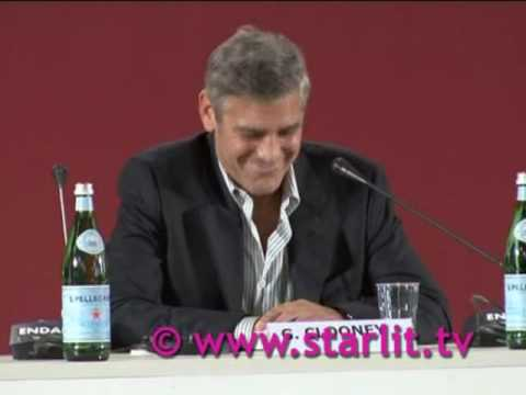 George Clooney at the Venice film Festival!  funny video of the conference by www.starlit.tv