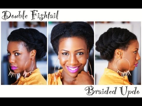 Double Fishtail Braid Natural Hair Updo