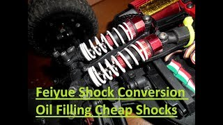 Best Rc Mod.Cheap Feiyue Rc Truck Shock Oil Filling Conversion Without spending money!!!!!