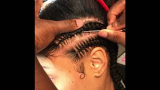 Feed-in  braids straight back tutorial