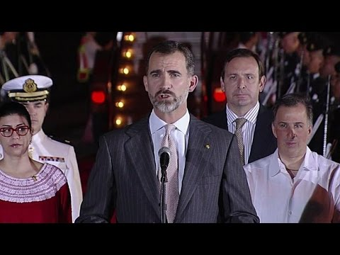 King Felipe VI arrives for Ibero-American summit in Mexico