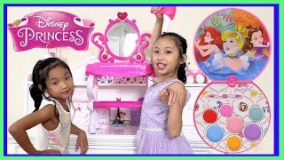 Pretend Play Princess Makeup with Disney Princess Carriage Power Wheels Ride on Car
