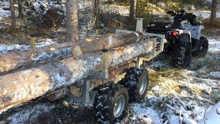 ATV Logging   Can-am Outlander & Log Trailer