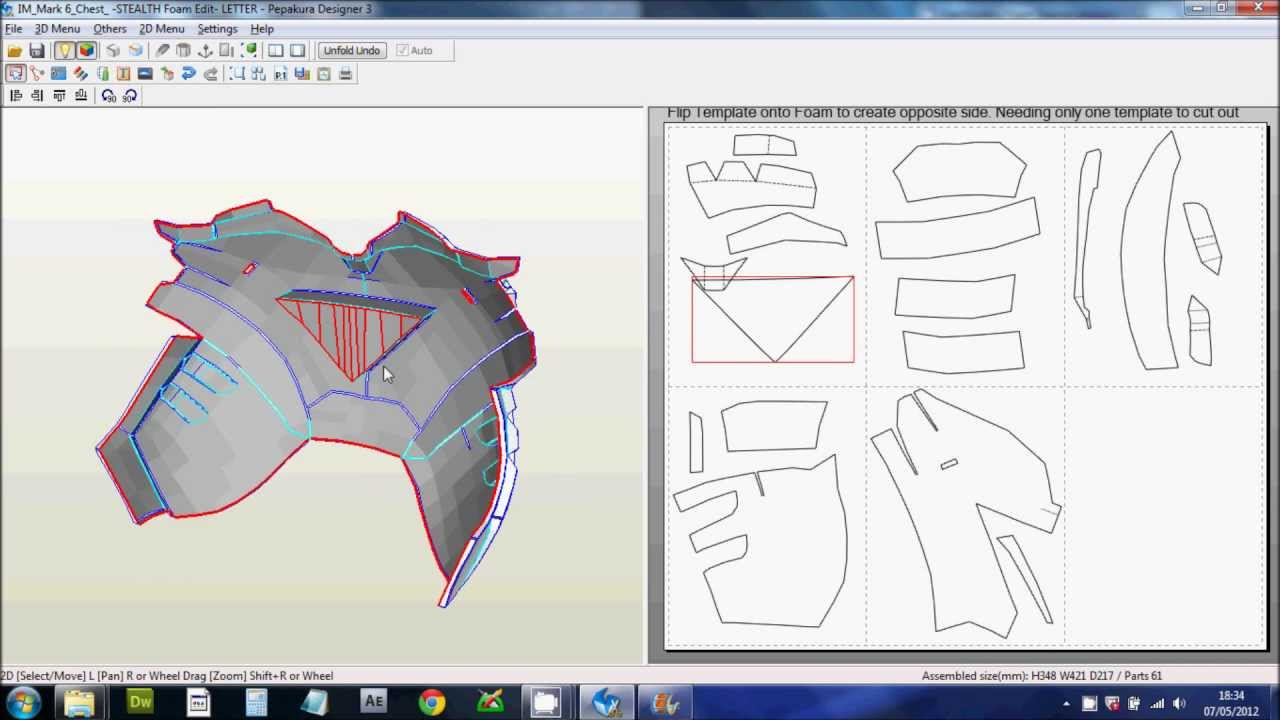 1 downloading scaling printing files foam pepakura for Iron man suit template