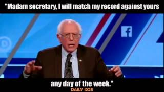 "Sanders, ""... I will match my record against yours any day of the week."""