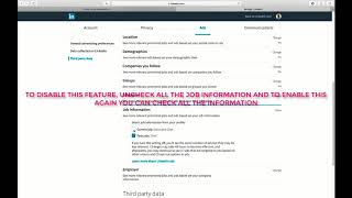 DISABLE OR ENABLE RELEVANT PROMOTED JOBS AND ADS BASED ON YOUR JOB INFORMATION ON LINKEDIN