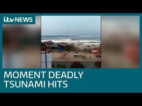 Footage shows panic as Indonesia tsunami approaches | ITV News