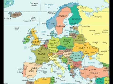 Countries of the World - Europe with Capital cities and Flags