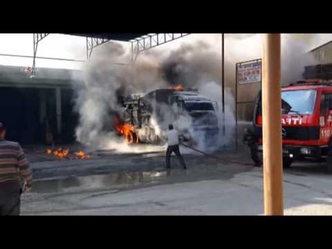 Kaynak yapılan kamyon mazot deposu alev aldı \ 18 02 2014 \ MERSİN