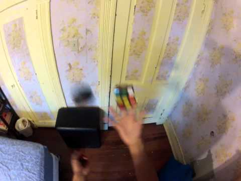 Rubik's Cube while juggling - head view