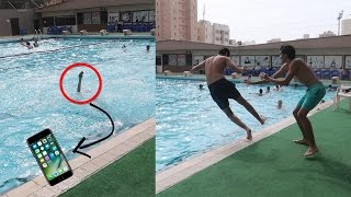 رماه في المسبح والمفاجأه كان بيده ايفون 7 !!