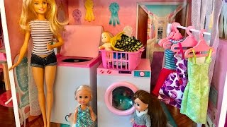 Barbie doll LAUNDRY!! Baby gets washed?!?