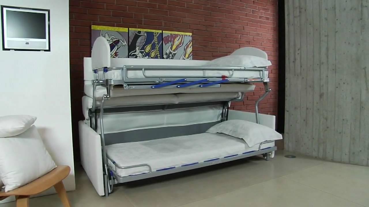 Divano letto castello due sofa bunk bed youtube for Divano letto a scomparsa ikea