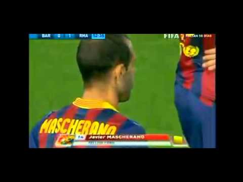 FALTA HORRIBLE DE MASCHERANO A MARCELO  Final Copa del Rey 2014   16/04/2014