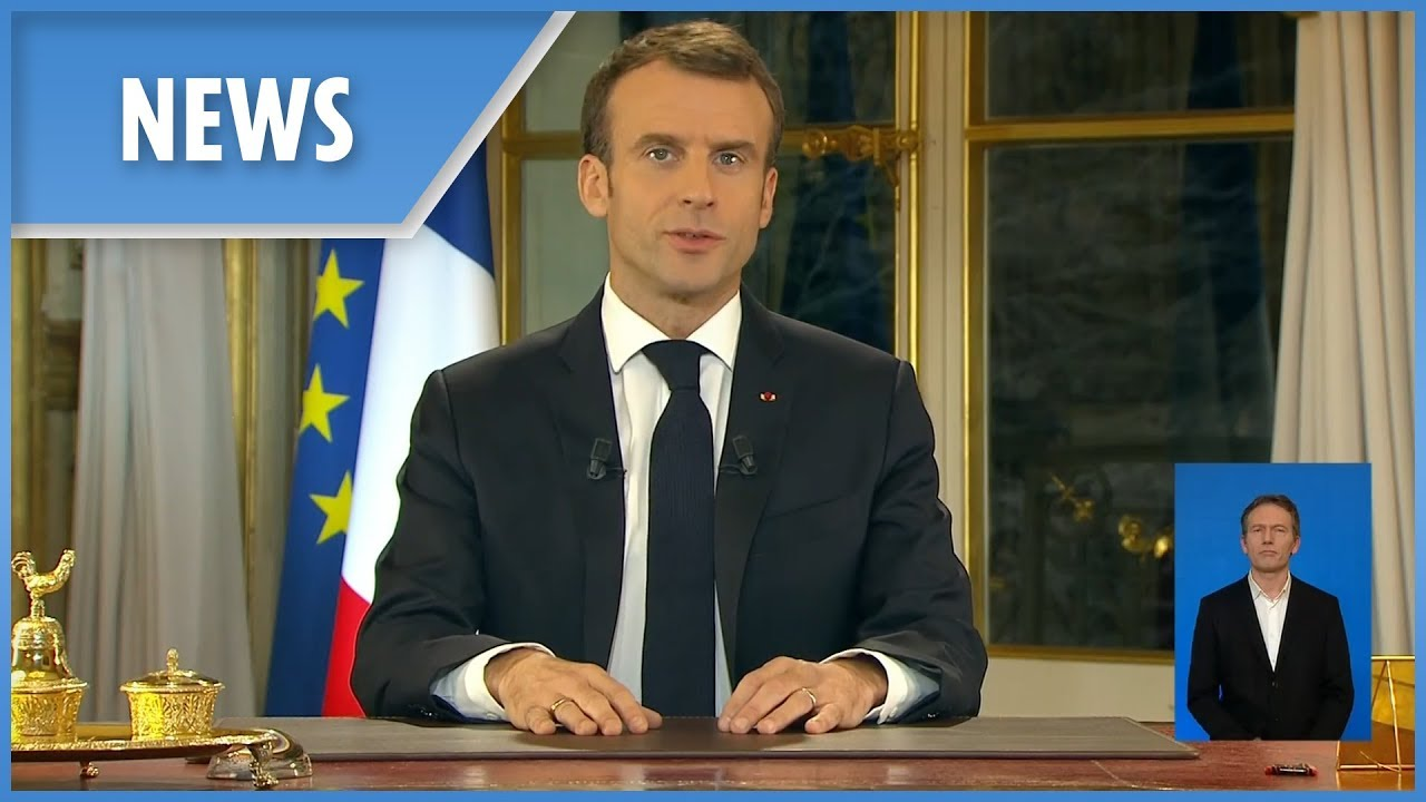 Emmanuel Macron addresses the nation as he surrenders to Paris rioters
