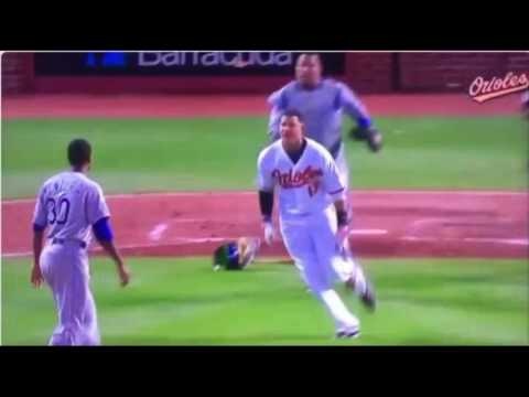 Manny Machado charges the mound vs Royals|Orioles vs Royals Brawl