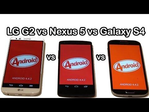 LG G2 vs Nexus 5 vs Samsung Galaxy S4 con KitKat