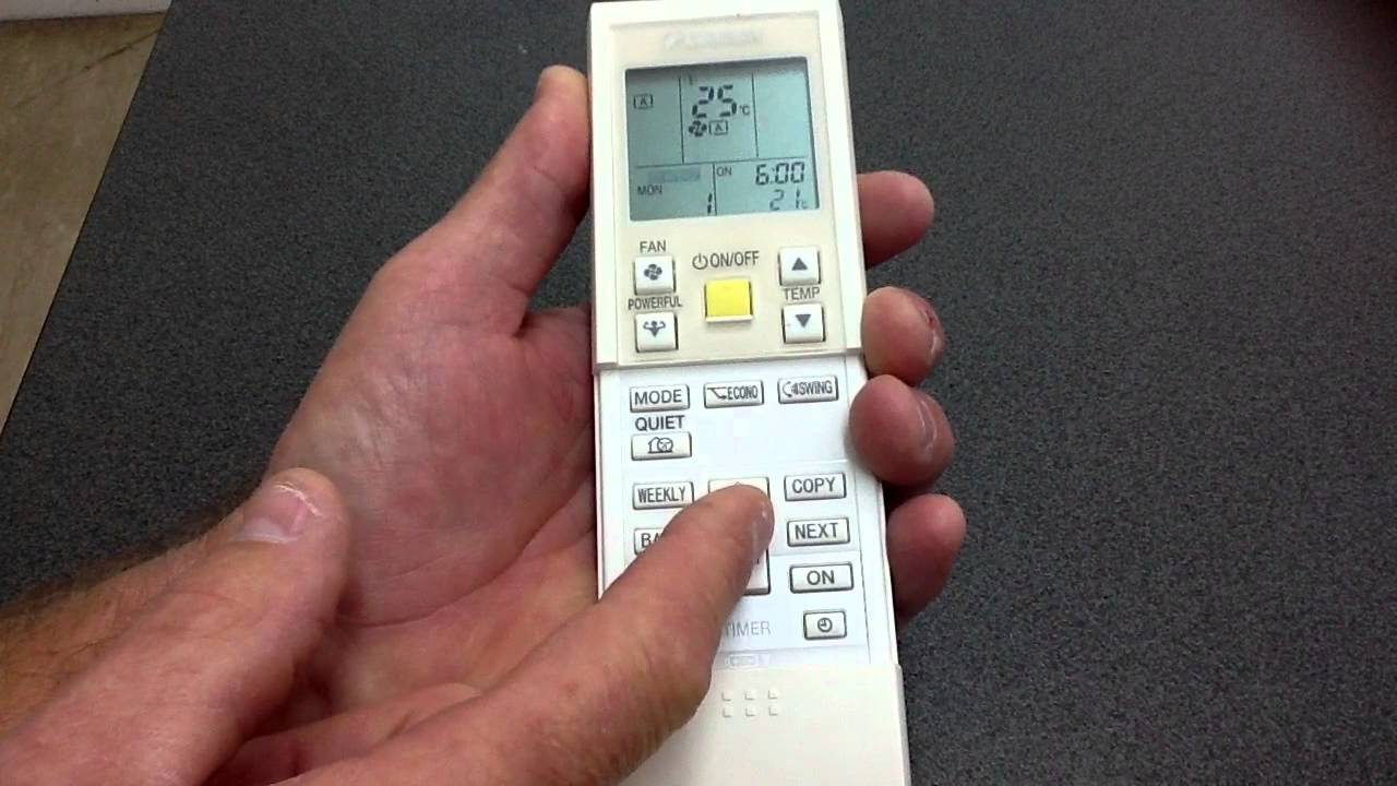 Daikin Remote Control 7 Day Timer Programming Youtube