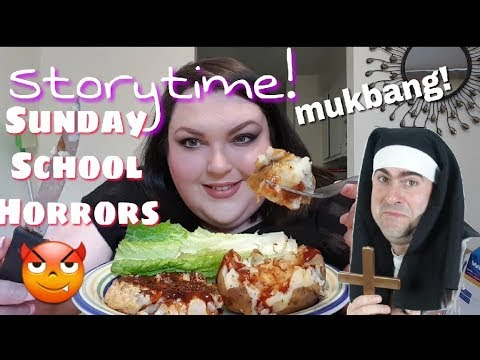 EAT DINNER WITH ME (MUKBANG)BBQ CAULIFLOWER STEAKS AND BAKED POTATO AND STORYTIME! thumbnail