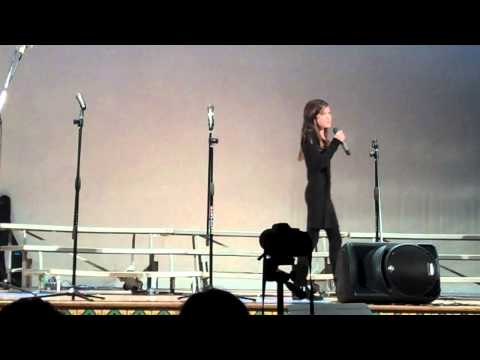 Elisabeth singing Just Not Now at Everett Middle School 2013-12-15