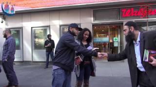 New York Time Square Street Dawah Muslims Giving Back Islam Christianity Bible Quran IRFNY