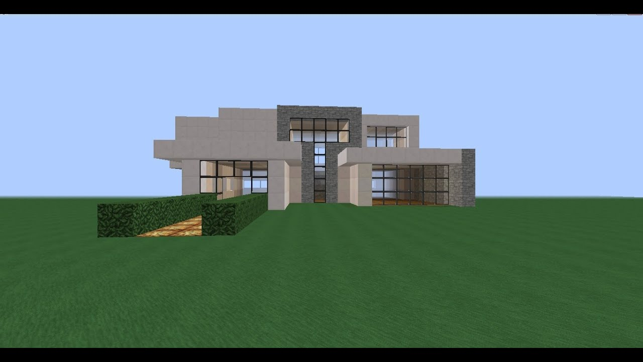 Minecraft como hacer casa moderna mediana youtube for Casa moderna minecraft rey zerch