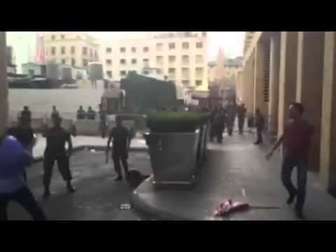 Lebanese forces attacking protestors in Demonstration in Beirut downtown in Lebanon 22-8-2015