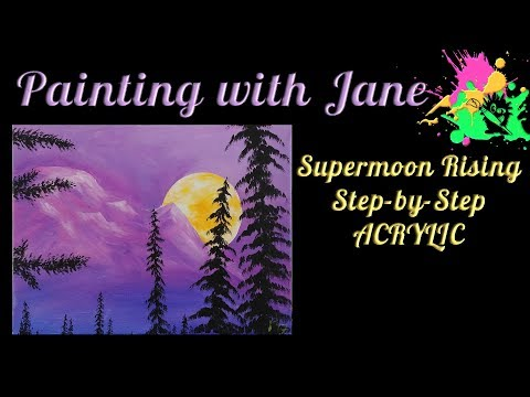 Supermoon Rising Step by Step Acrylic Painting on Canvas for Beginners