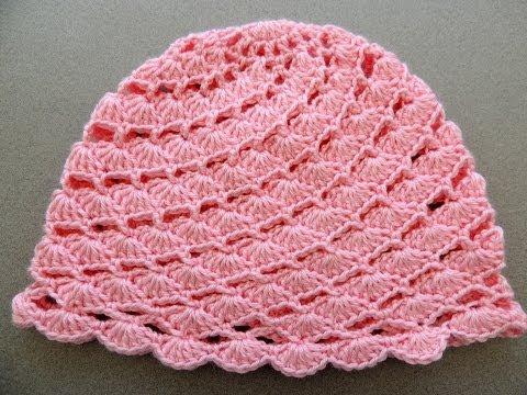 Crochet : Gorro en Conchitas Diagonales. Parte 1 de 2