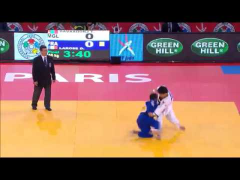 Judo Grand Slam Paris 2013: Final -66kg  DAVAADORJ, Tumurkhuleg (MGL) -  LAROSE, David (FRA) Image 1