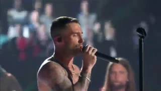 Adam Levine goes shirtless for Super Bowl
