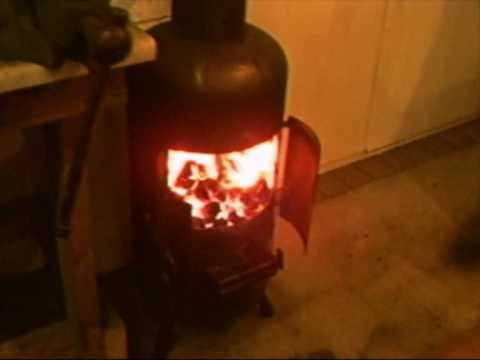 Luke S Wood Burning Stove Fitted In His Garage