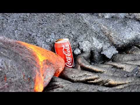 Lava flow and two cans of Coca Cola. The first can had a tiny hole punched in the top to prevent it from randomly exploding. I wanted to see if it would foun...