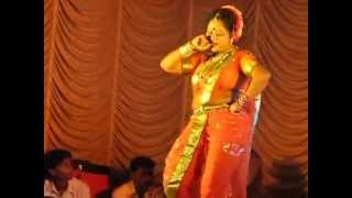 Naughty Live Lavani by middle aged lady during the Dahi Handi festival in Mumbai
