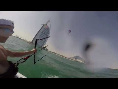 Kitesurfing around Burj Al Arab in Dubai.