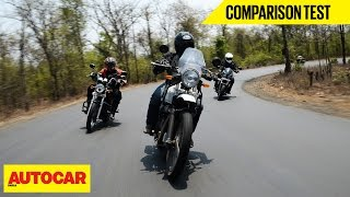 RE Himalayan VS Mahindra Mojo VS RE Thunderbird 500 | Comparison Test | Autocar India
