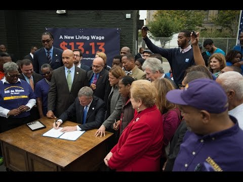 Mayor de Blasio Hosts Press Conference to Sign Living Wage Executive Order